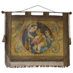 19th Century Italian Religious Banner Mary & Jesus Oleograph Tassels Raffaello