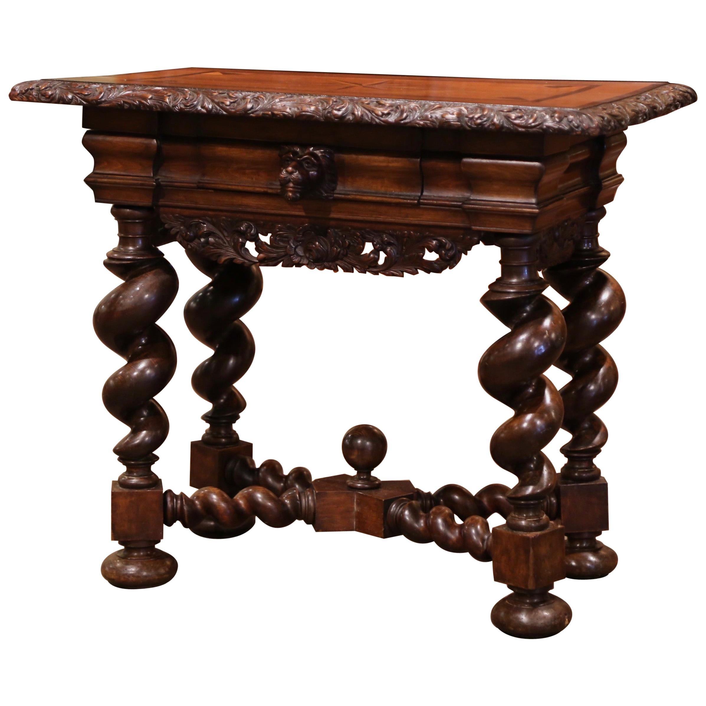 19th Century Italian Renaissance Carved Walnut and Inlay Side Table