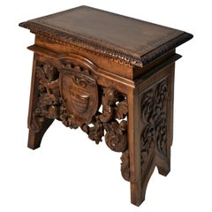 19th Century Italian Renaissance Revival Armorial Walnut Stool