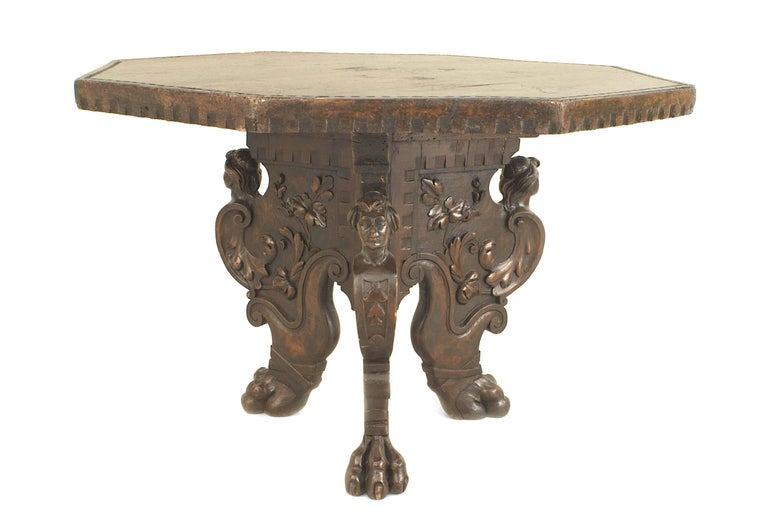 19th century Italian Renaissance Revival walnut octagonal top center table with