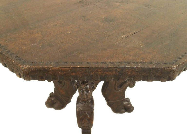 Carved 19th Century Italian Renaissance Revival Octagonal Walnut Center Table For Sale