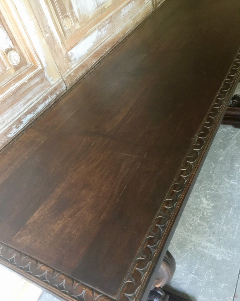 19th Century Italian Renaissance Revival Walnut Library Table For Sale 9