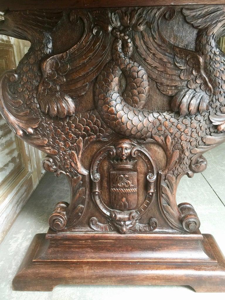 19th Century Italian Renaissance Revival Walnut Library Table For Sale 2