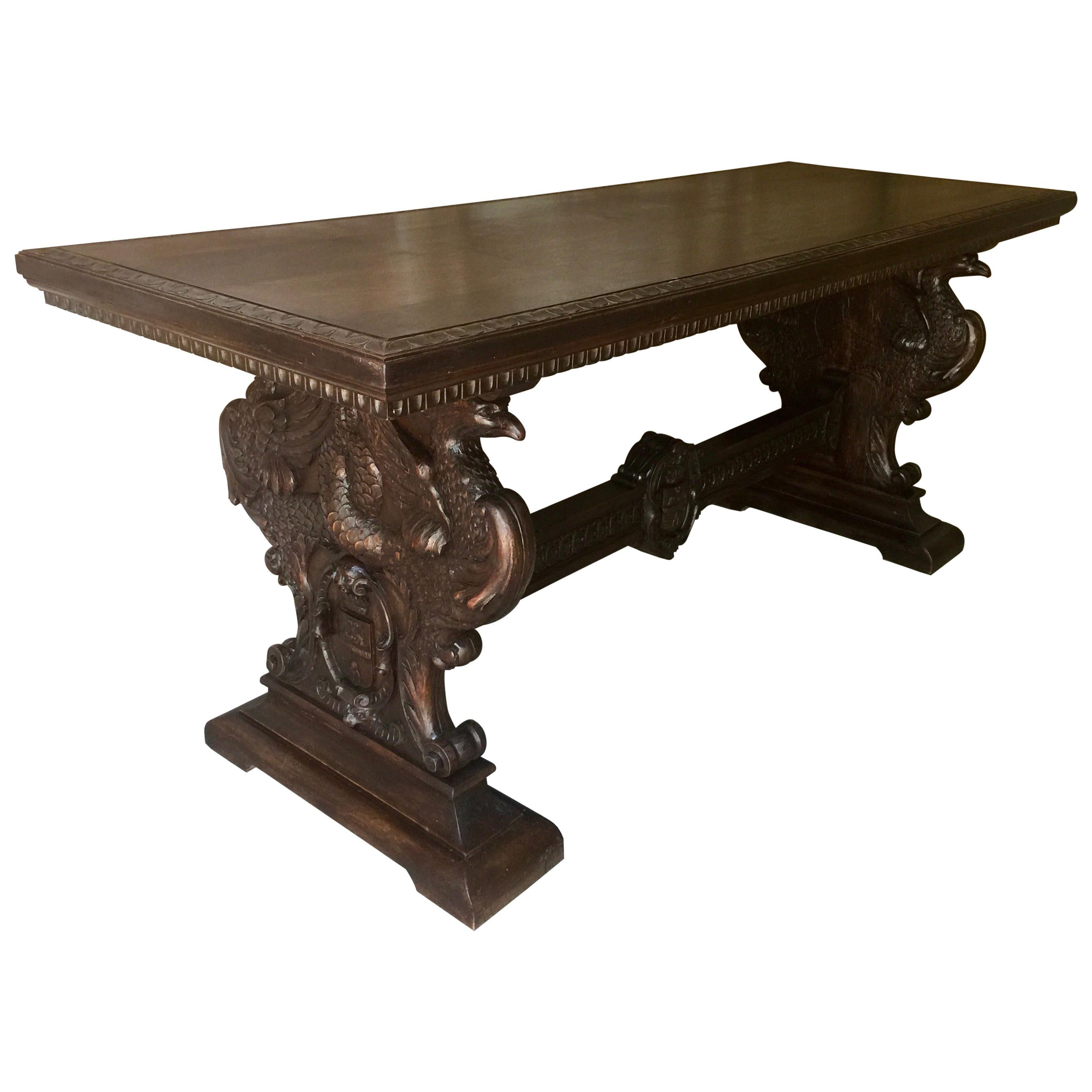 19th Century Italian Renaissance Revival Walnut Library Table