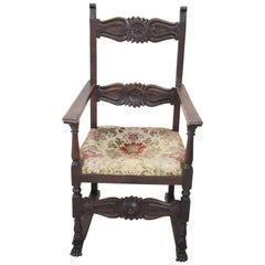 19th Century Italian Renaissance Style Carved Oak Armchair