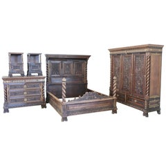 19th Century Italian Renaissance Style Carved Walnut Bedroom Set, Five Pieces