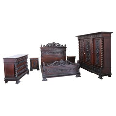 19th Century Italian Renaissance Style Carved Walnut Bedroom Set, Five Pieces