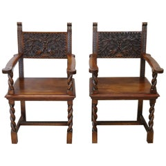 19th Century Italian Renaissance Style Carved Walnut Pair of Throne Chairs