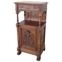 19th Century Italian Renaissance Style Carved Walnut Small Cabinet