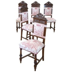 19th Century Italian Renaissance Style Carved Walnut Wood Five Antique Chairs