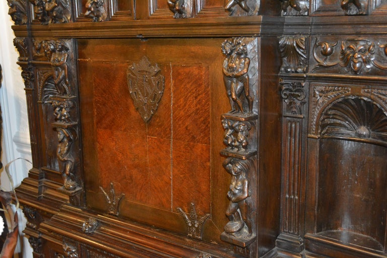 19th Century Italian Renaissance Style Two Part Carved Walnut 'Stipo a Bambocci' For Sale 8