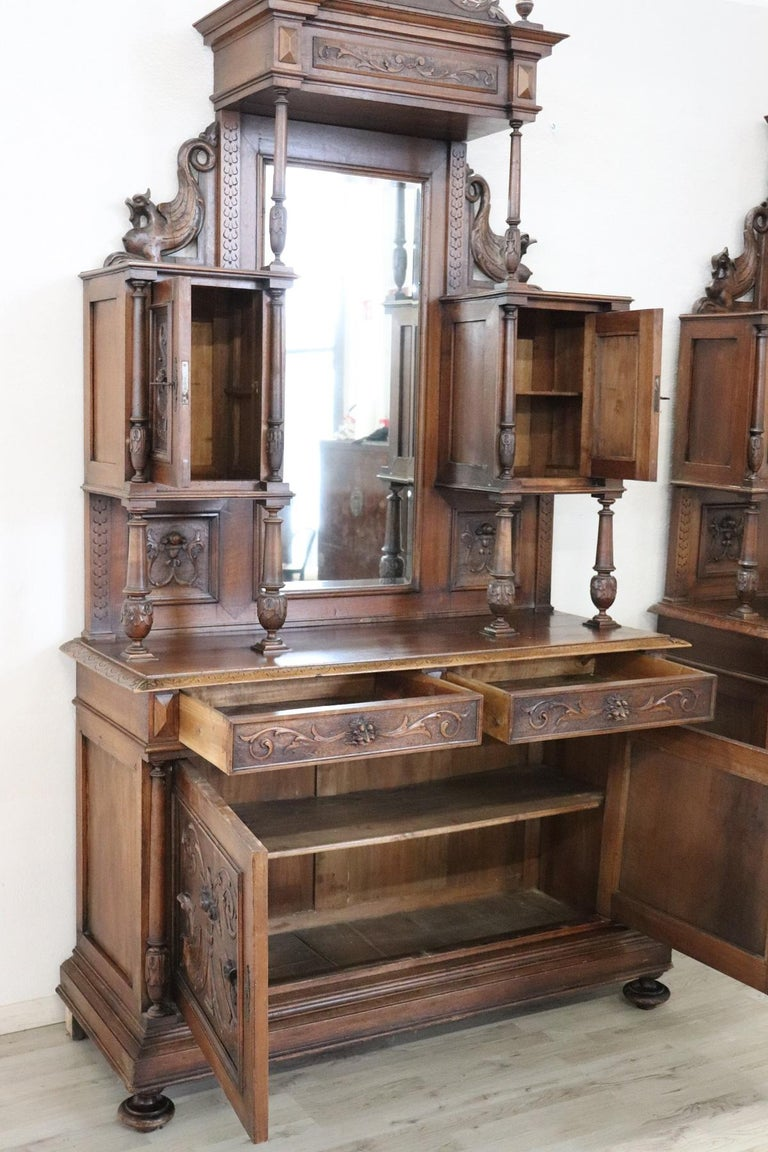 19th Century Italian Renaissance Style Walnut Carved Sideboard, Set of 2 For Sale 6
