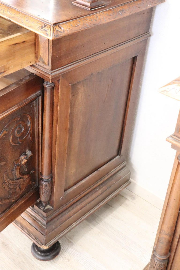 19th Century Italian Renaissance Style Walnut Carved Sideboard, Set of 2 For Sale 9