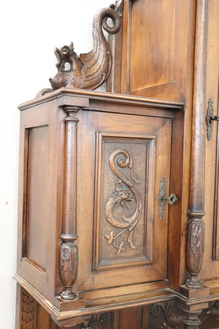 19th Century Italian Renaissance Style Walnut Carved Sideboard, Set of 2 For Sale 10