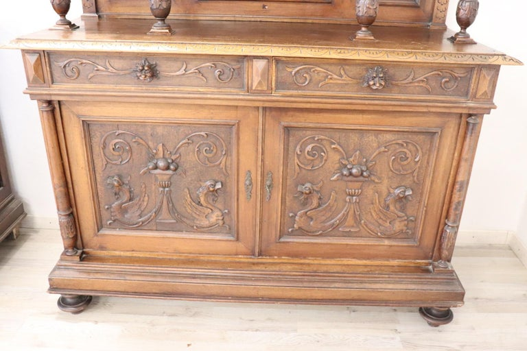 19th Century Italian Renaissance Style Walnut Carved Sideboard, Set of 2 For Sale 11
