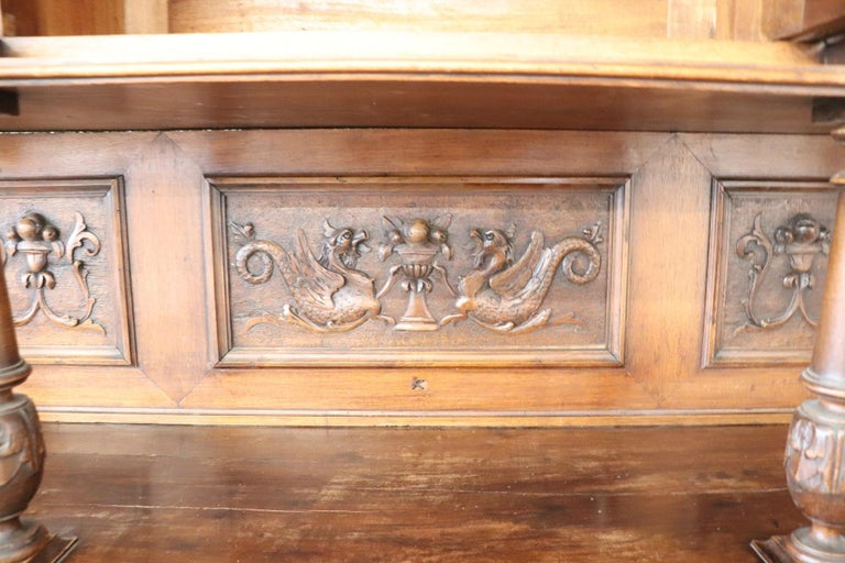 19th Century Italian Renaissance Style Walnut Carved Sideboard, Set of 2 For Sale 14