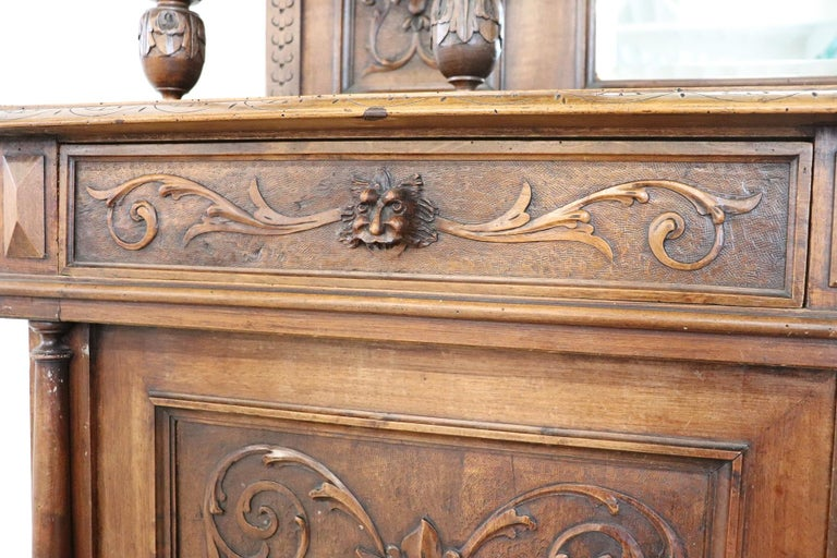 19th Century Italian Renaissance Style Walnut Carved Sideboard, Set of 2 For Sale 3