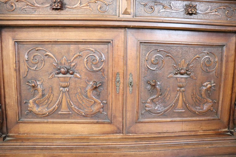19th Century Italian Renaissance Style Walnut Carved Sideboard, Set of 2 For Sale 4