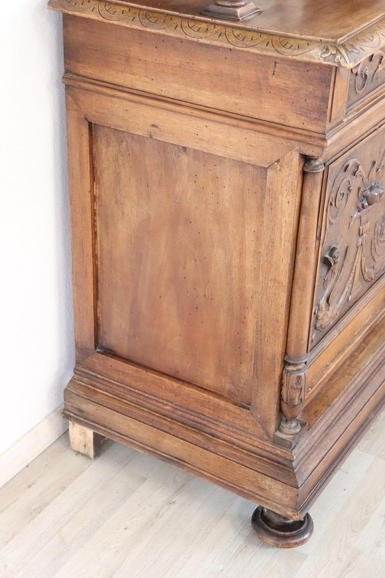 19th Century Italian Renaissance Style Walnut Carved Sideboard, Set of 2 For Sale 5