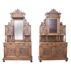 19th Century Italian Renaissance Style Walnut Carved Sideboard, Set of 2