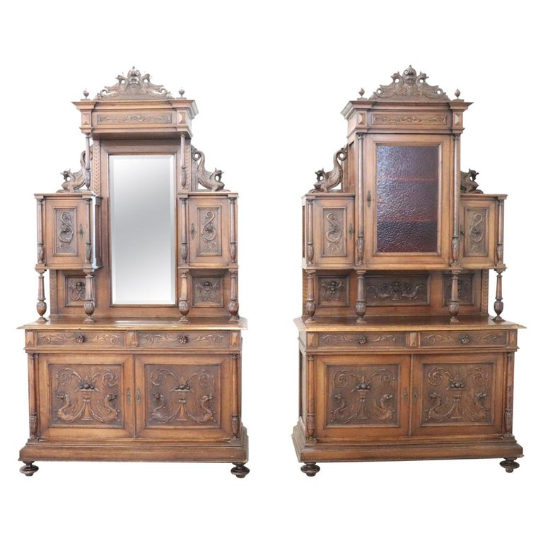 19th Century Italian Renaissance Style Walnut Carved Sideboard, Set of 2 For Sale