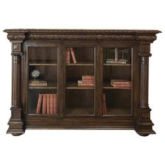 19th Century Italian Renaissance Walnut Barrister's Bookcase