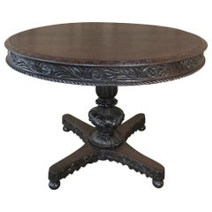 19th Century Italian Renaissance Walnut Center Table, Dining Table