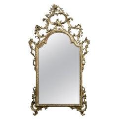 19th Century Italian Rococo Hand Carved Giltwood Mirror