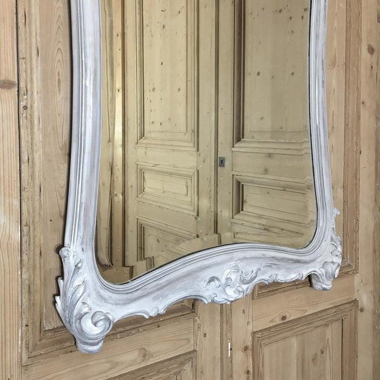 19th Century Italian Rococo Painted Mirror In Distressed Condition For Sale In Dallas, TX