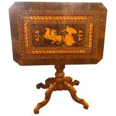 19th Century Italian Rollo Louis Philippe Walnut Inlay Table, 1870s