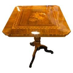 19th Century Italian Rolo Wood Walnut Inlay Table, 1860s