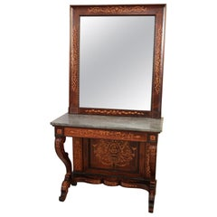19th Century Italian Rosewood Inlay Marble Top Console Table with Mirror