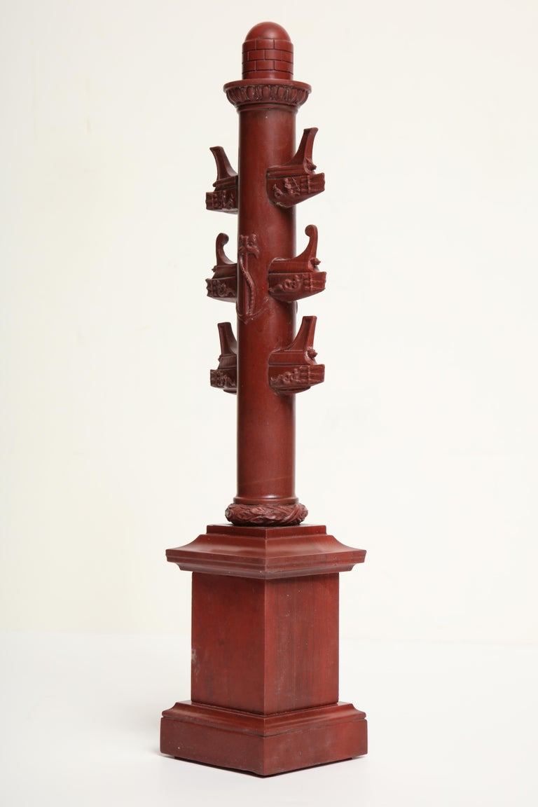 19th Century Italian Rostral Column in Rosso Antico For Sale 5