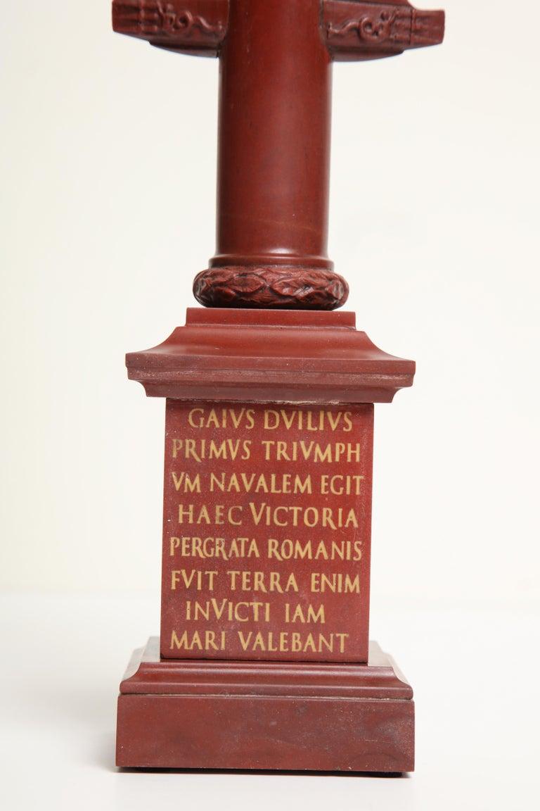 Grand Tour 19th Century Italian Rostral Column in Rosso Antico For Sale