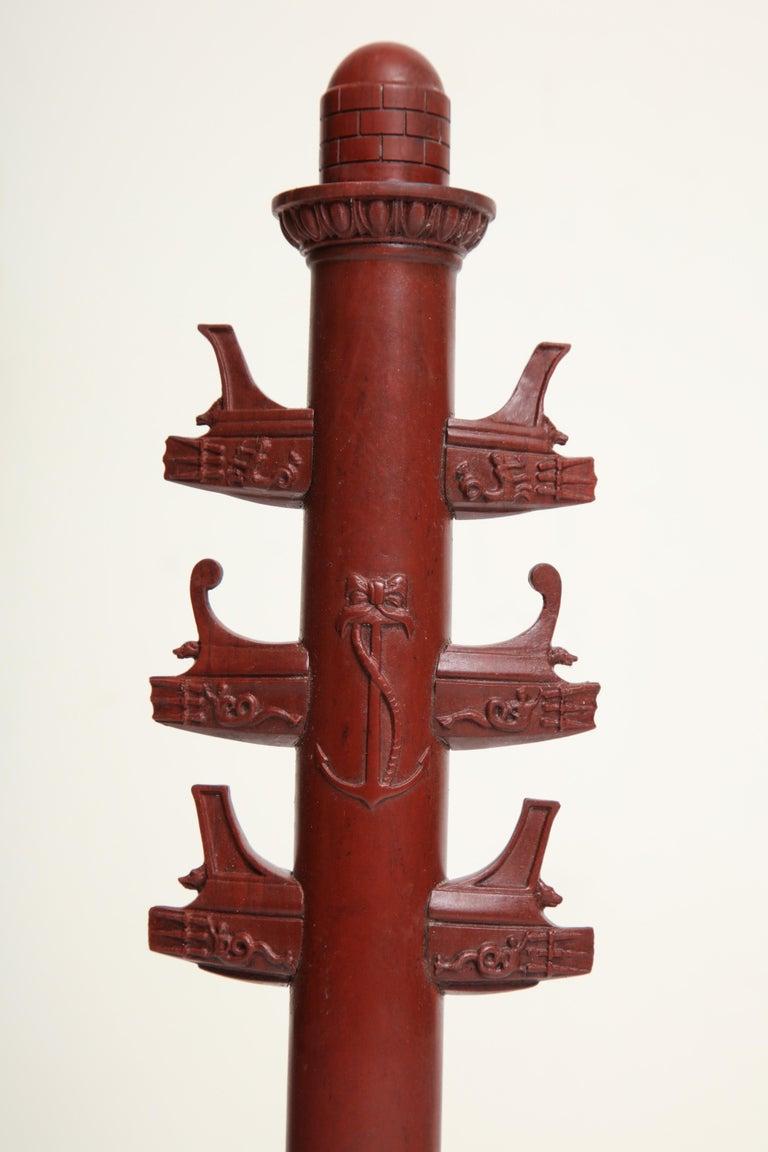 19th Century Italian Rostral Column in Rosso Antico For Sale 1