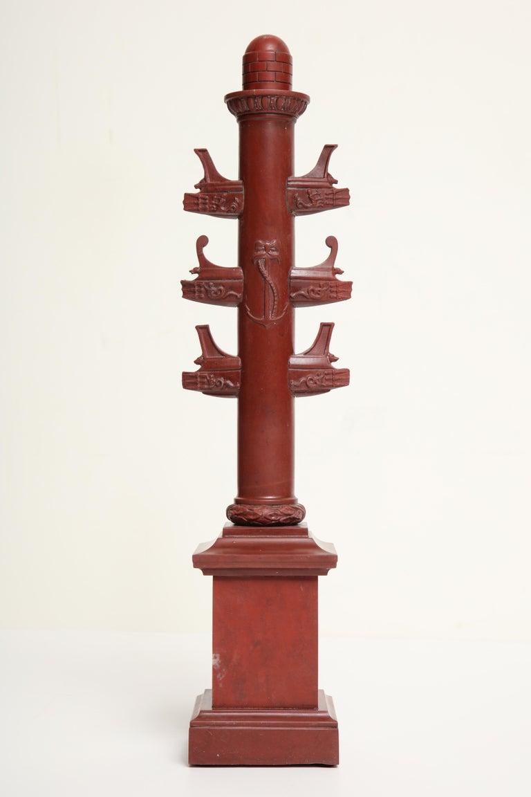 19th Century Italian Rostral Column in Rosso Antico For Sale 3