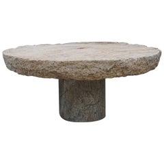 19th Century Italian Round Millstone Table from Sicily