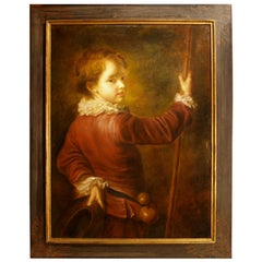 19th Century Italian School, Framed Oil on Canvas, of a Young Boy