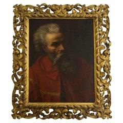19th Century Italian School Portrait of a Bearded Man in Red