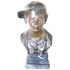 19th Century Italian Sculpture in Bronze Young Boy Signed G. De Martino