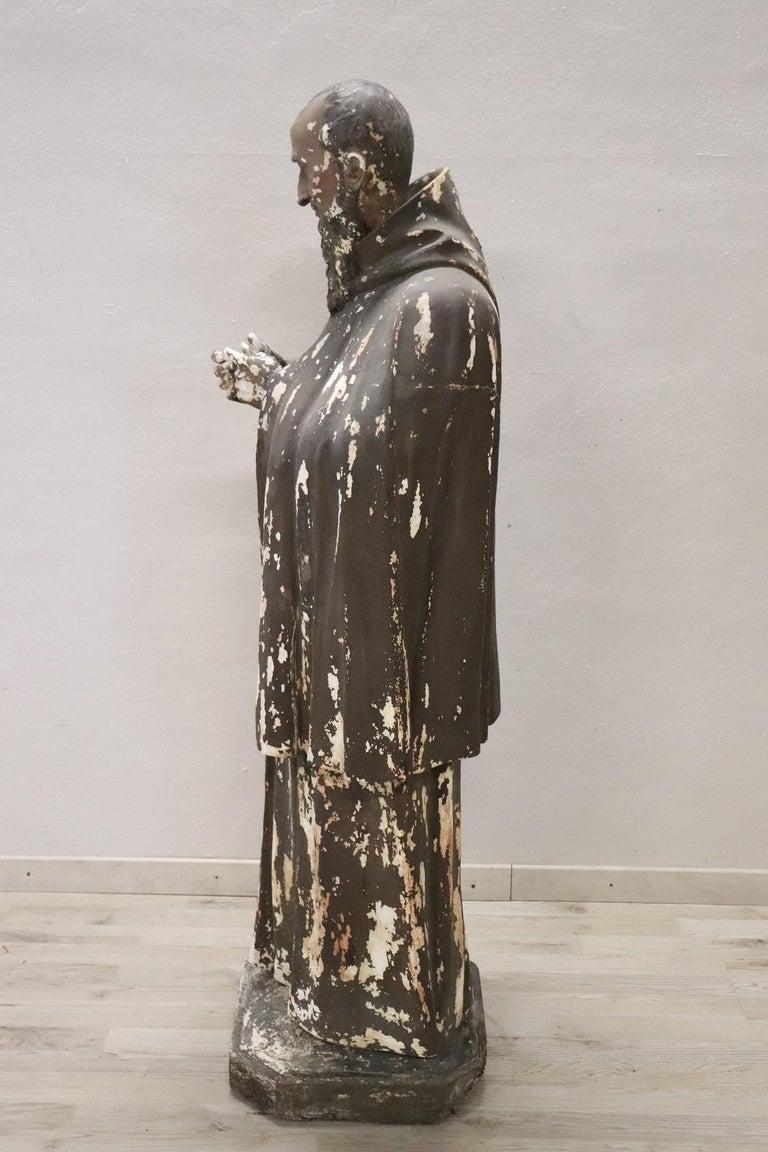 19th Century Italian Sculpture in Plaster Holy Francesco Maria da Camporosso  For Sale 8