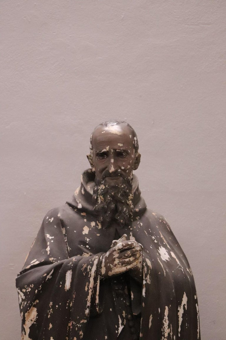 Refined italian sculpture in plaster. This large sculpture at almost real height represents Holy Francesco Maria da Camporosso. Francesco Maria da Camporosso, known as the Holy Father, venerated in Genoa where the body is kept in the Capuchin church