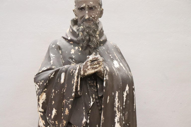 Carved 19th Century Italian Sculpture in Plaster Holy Francesco Maria da Camporosso  For Sale
