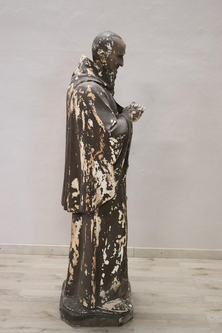 19th Century Italian Sculpture in Plaster Holy Francesco Maria da Camporosso  For Sale 3