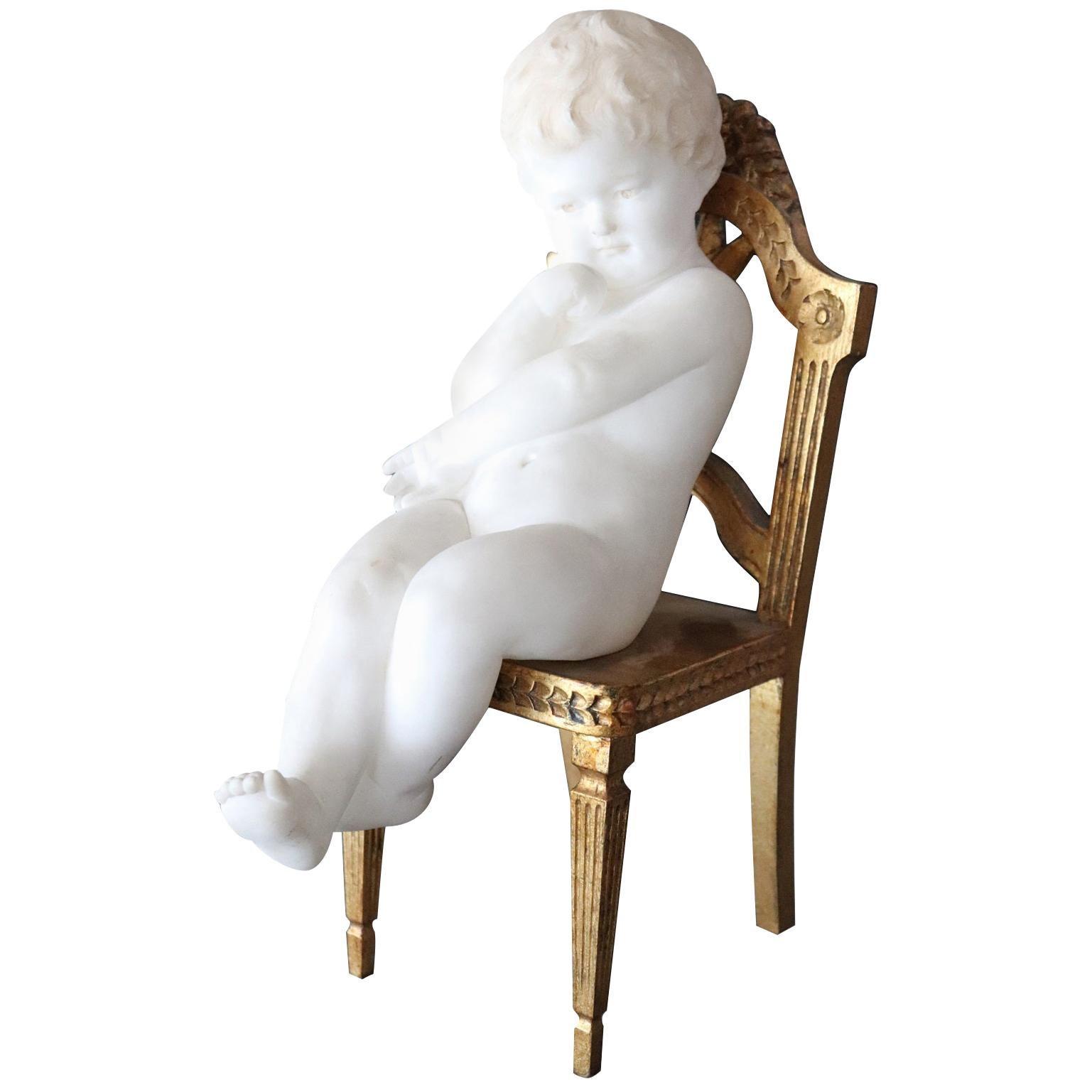 19th Century Italian Sculpture in Precious White Marble of Carrara, Child