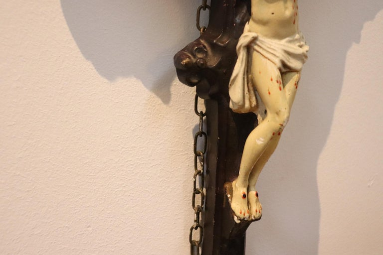 19th Century Italian Sculpture Jesus Christ on the Cross in Plaster In Good Condition For Sale In Bosco Marengo, IT