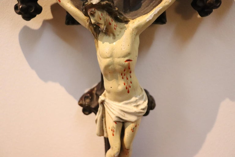 19th Century Italian Sculpture Jesus Christ on the Cross in Plaster For Sale 4