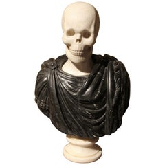 19th Century Italian Sculpture White Carrara Skull, Black Marquina Marble Bust