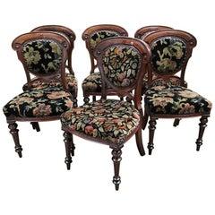 19th Century Italian Set of 6 Mahogany Dining Chairs, 1890s
