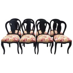 19th Century Italian Set of 8 Wooden Upholstered Dining Chairs, 1890s
